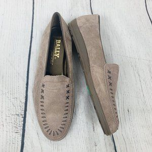 Bally Tan Suede Leather Slip On Loafer Shoes 9